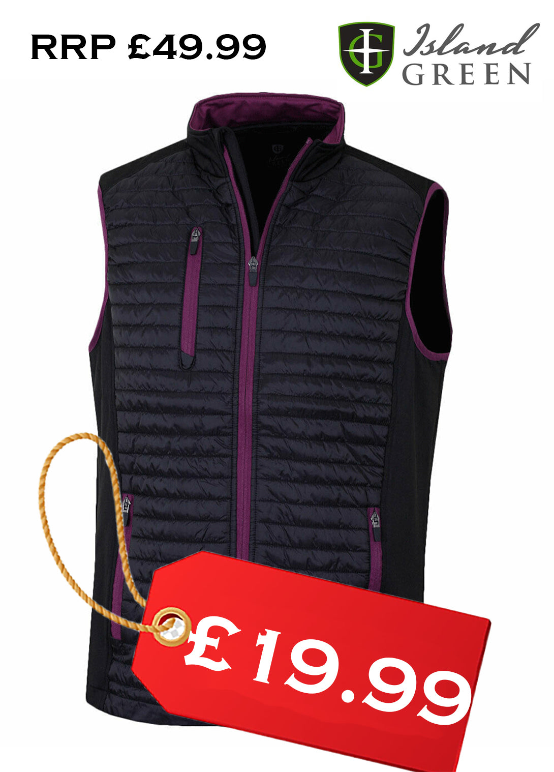 Island Green Mens Golf Lightweight Padded Thermal Gilet Black/Berry