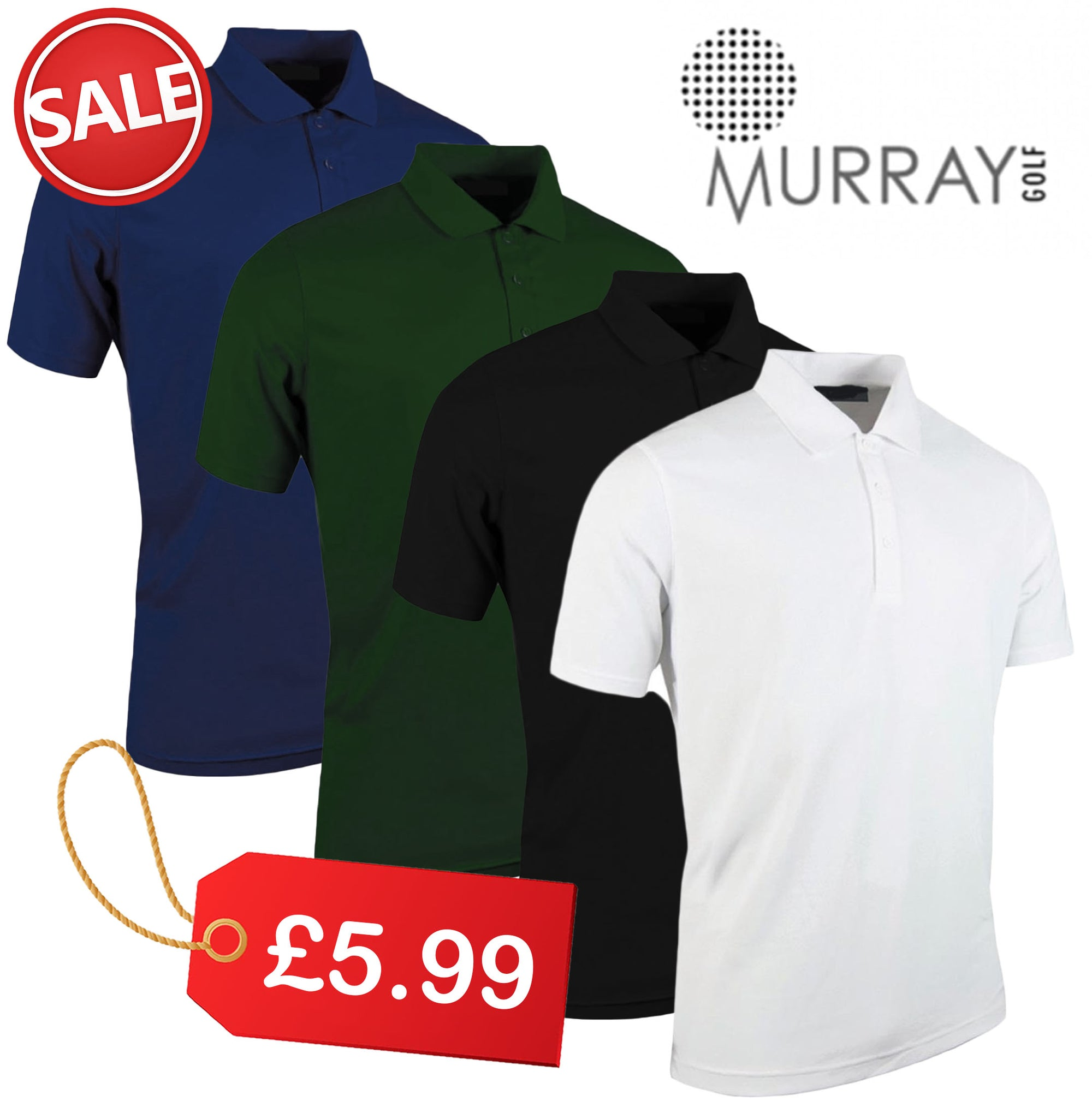 New Murray Golf Tour Ace Dri Tech Polo Shirt