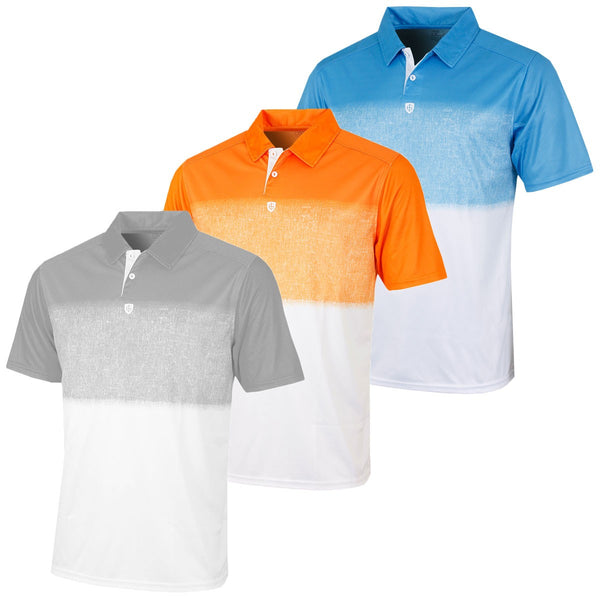 Island Green Mens Fade Effect CoolPass Golf Polo Shirt