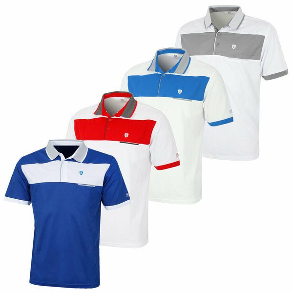 Island Green Mens Chest Block Stripe Pique Golf Polo - IGTS1706