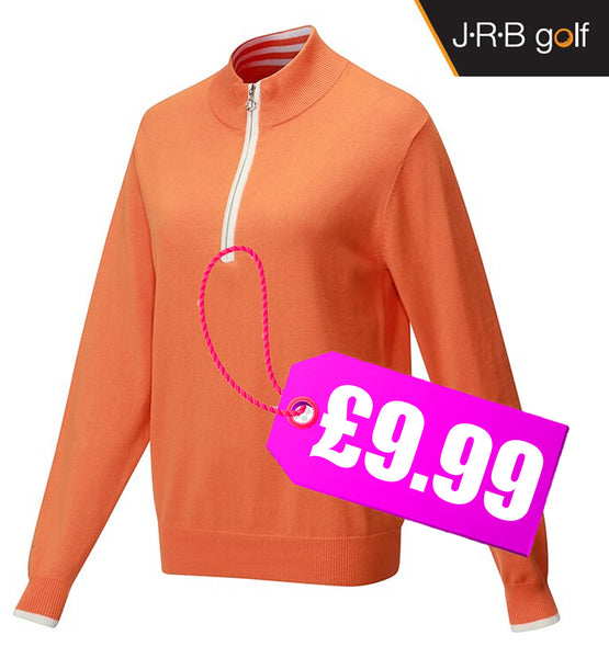 JRB Ladies 1/4 Zipped Sweater Golf Top Amber