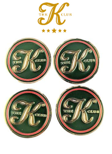 New The K Club Golf Metal Ball Marker Set Of 4 Flat Coin Style
