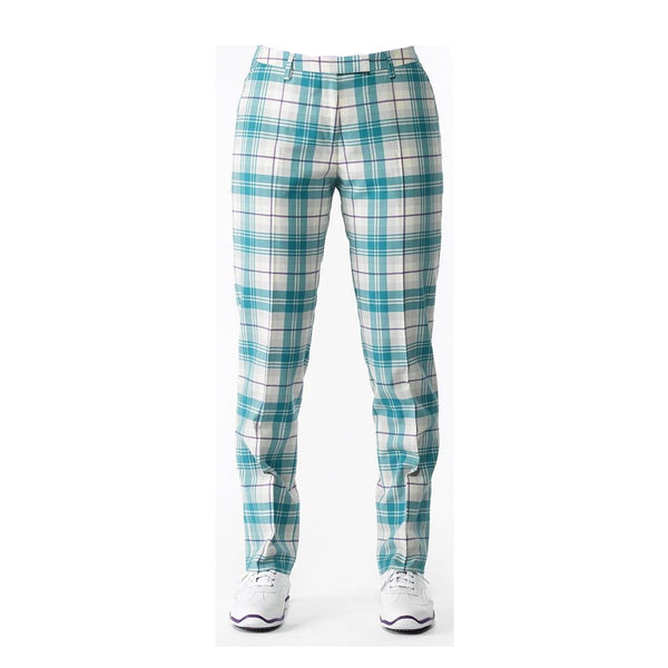 IJP Design Ladies Tartan Trousers Green Purple Check