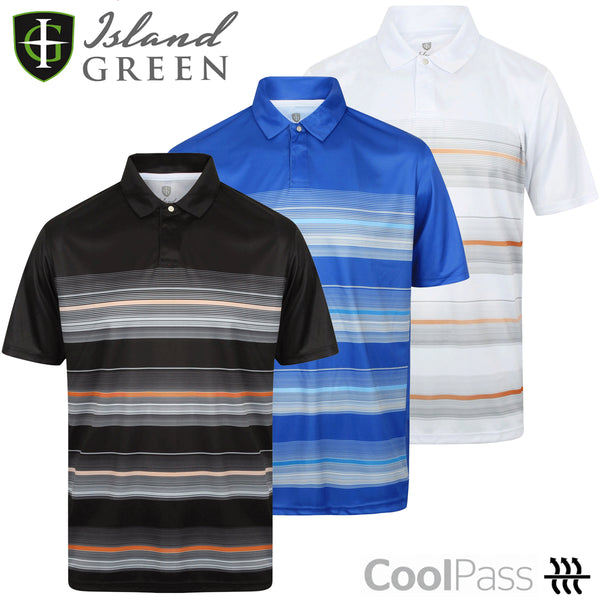 Island Green Mens Coolpass Golf Polo Shirt