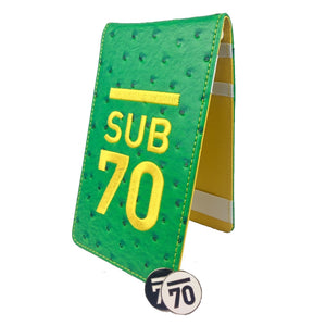 Limited Edition Sub70 Tour Flip Scorecard Holder Green/Yellow FREE HOLDALL