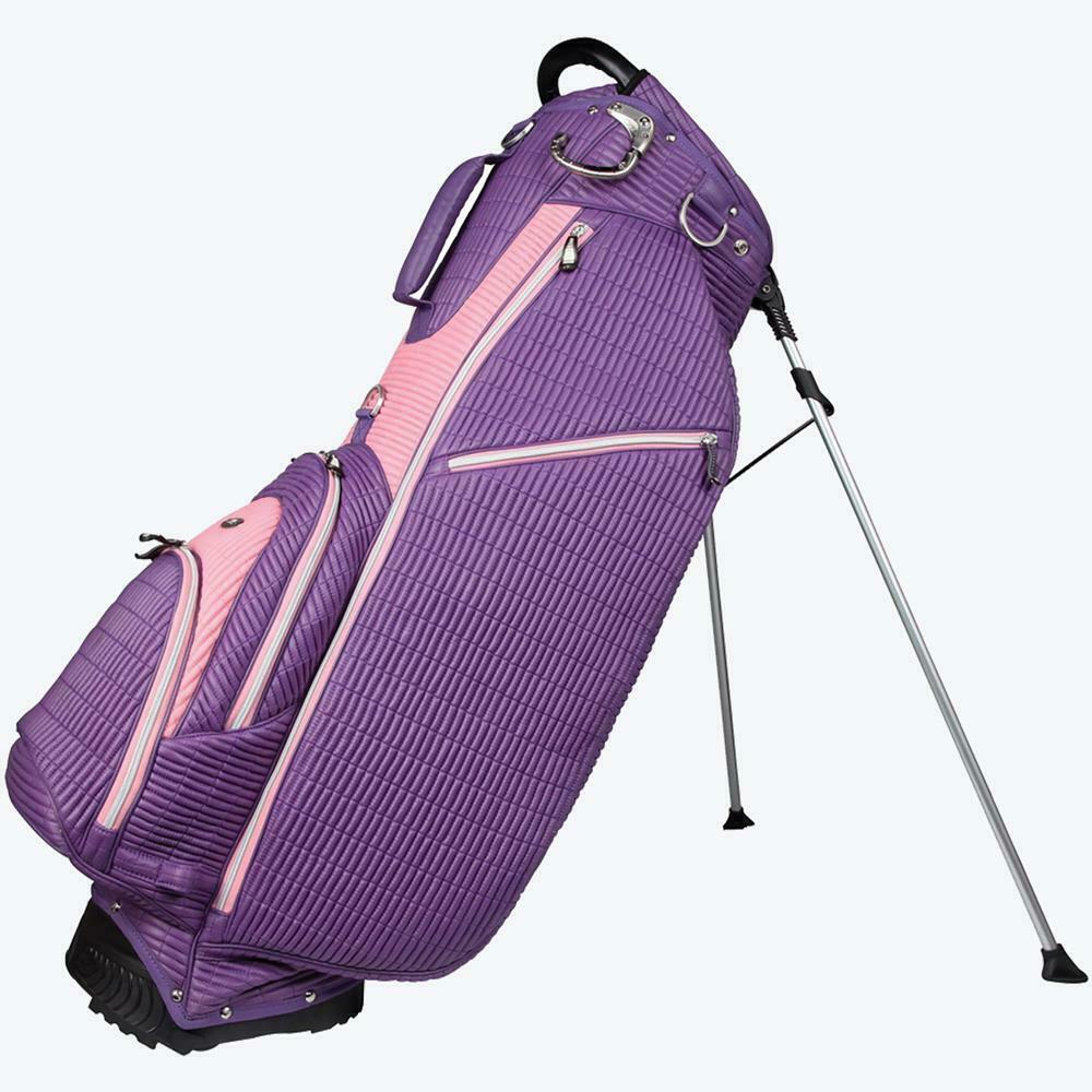 New Ouul Ribbed Golf Stand Carry Bag -Single Strap 6 pockets Purple/pink