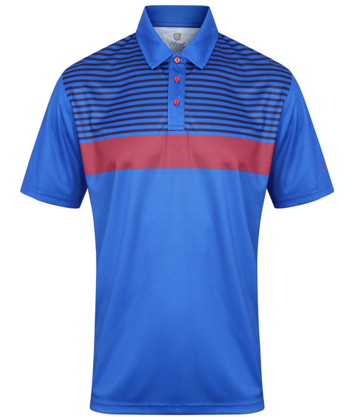 Island Green Mens Printed Stripe Golf Polo Shirt IGTS1644
