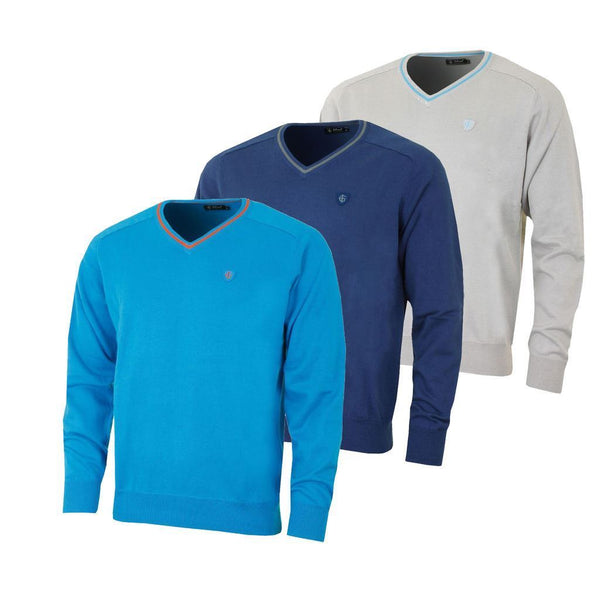 Island Green Mens V Neck Cotton Jumper Golf Sweater