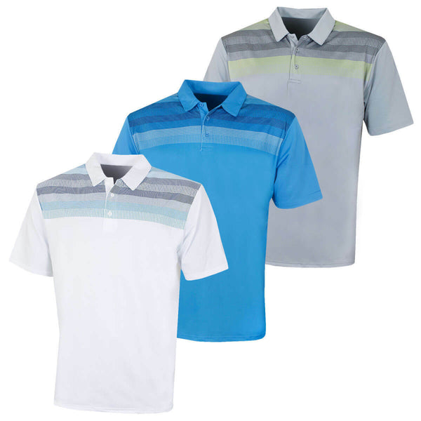 Island Green Mens Golf IGTS1875 Printed Line Polo Shirt