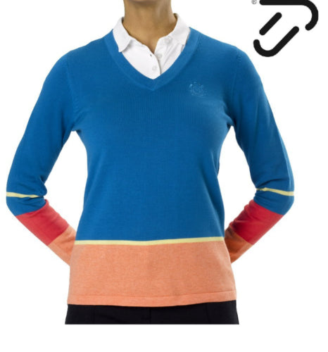 IJP Design Tout Ladies Pima Cotton Golf Jumper Blue