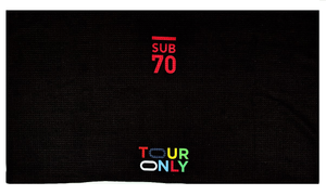 New Sub70 Black Tour Golf Thin Lightweight Bag Towel Tour Only