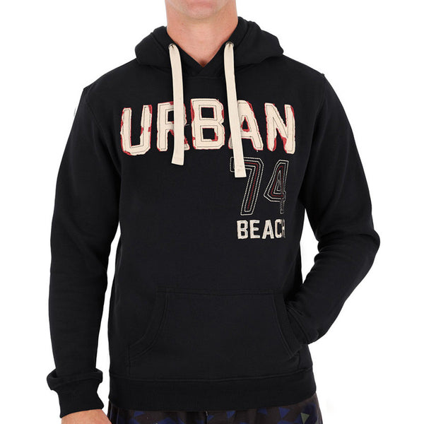 Urban Beach Mens Block Two Pocket Pullover Hoodie - GA0158 Black