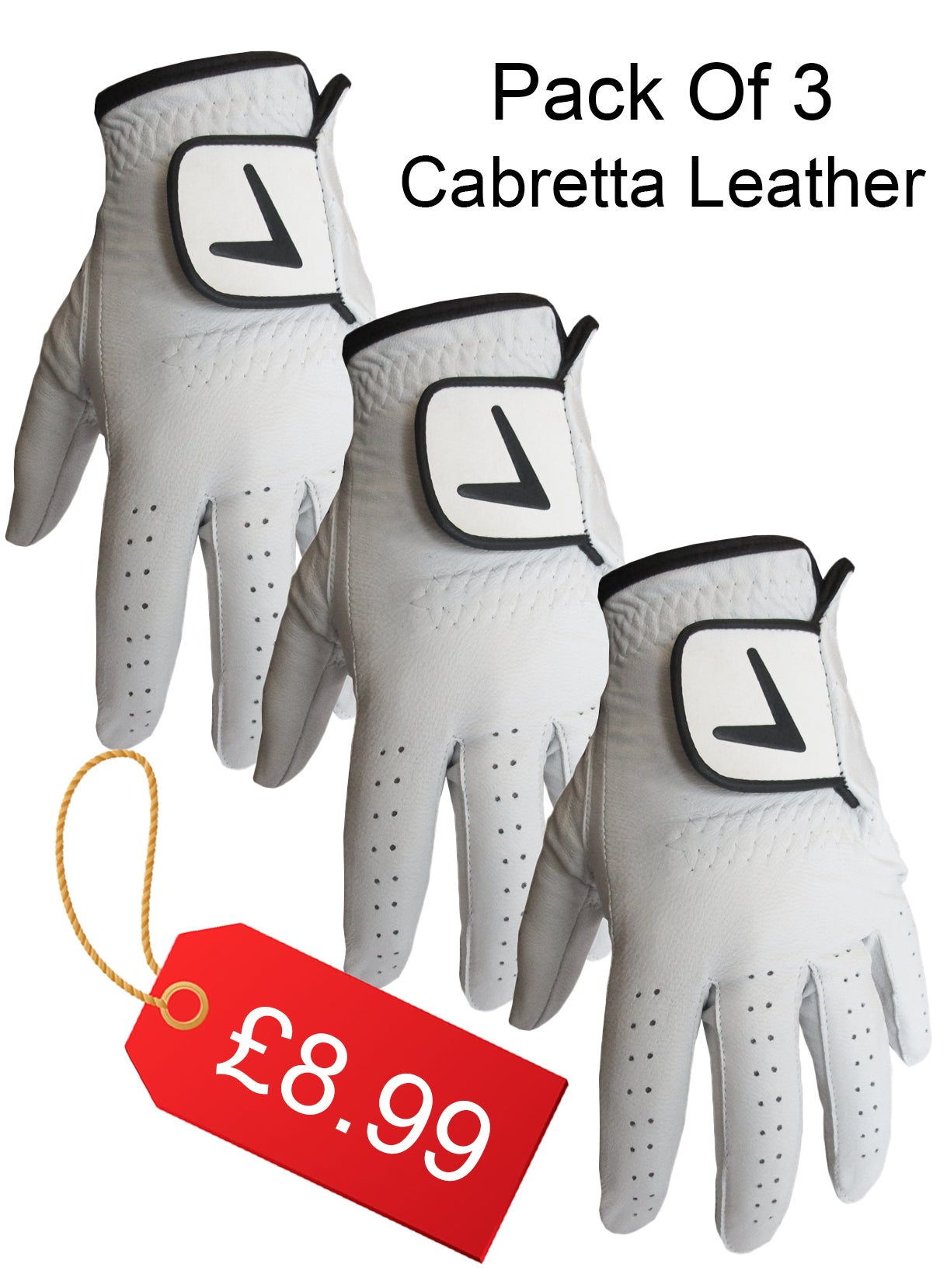 New V Tour Cabretta Leather Golf Gloves Pack Of  RRp £29.99