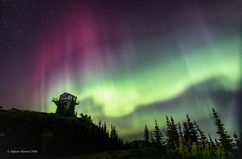 Northern Lights from Mount Buchanan Fire Watch Lookout