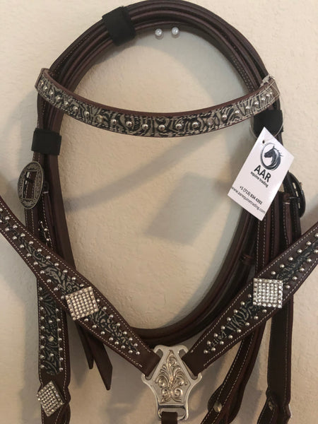 Tack set with bling silver conchos and rhinestones