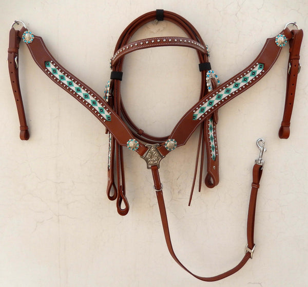AA COMING SOON Western Tack Set with Teal native american bead work & buckle - Headstall & Breast Collar