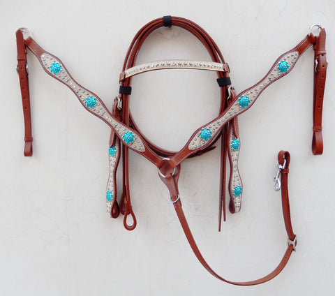 Hairon White Western Tack Set with marine blue rhinestone conchos