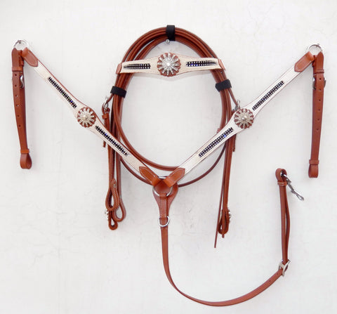 White Hairon with bling Western Tack Set - Headstall & Breast Collar Set