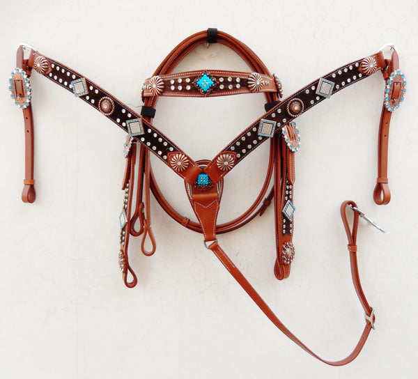 Z Brown Hairon bling Western Tack Set studded with conchos & buckles - Headstall & Breast Collar