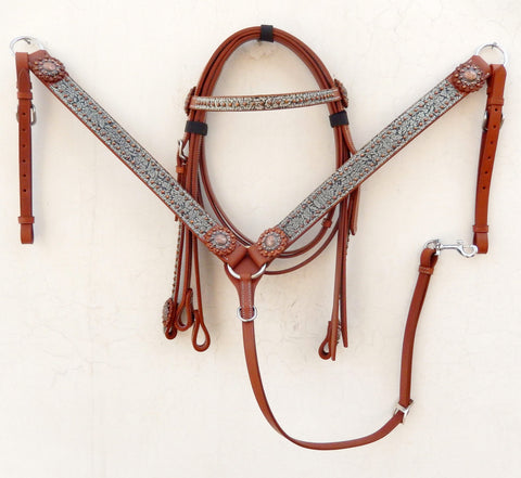 Z Olive green & black western tack set with copper studs & concho - headstall and breast collar