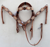 Z Tan rawhide Western Tack Set with cross-Headstall & Breast Collar
