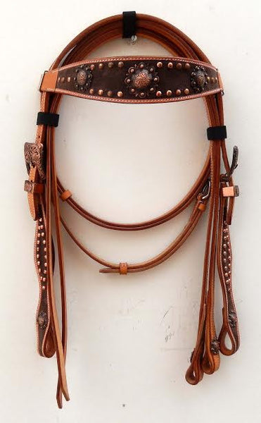 Brown Western Headstall with Copper Conchos
