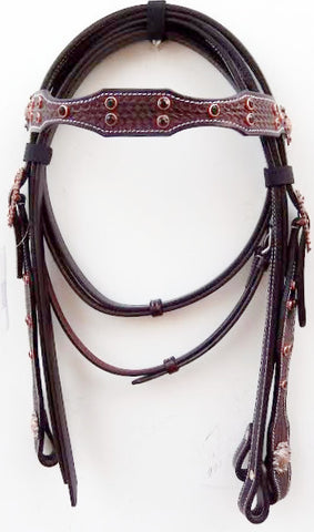 Jute Sticthing Copper Basket Western Headstall with Beaded Conchos