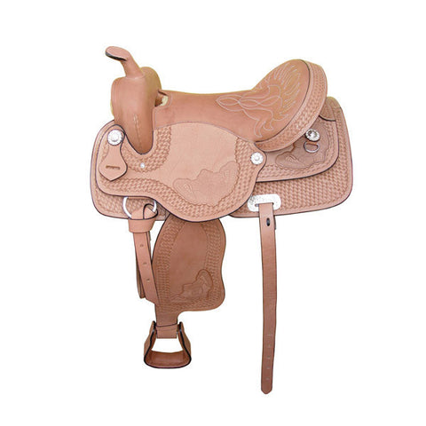 Trail Saddle - Western Saddle light oil finish with silver conchos