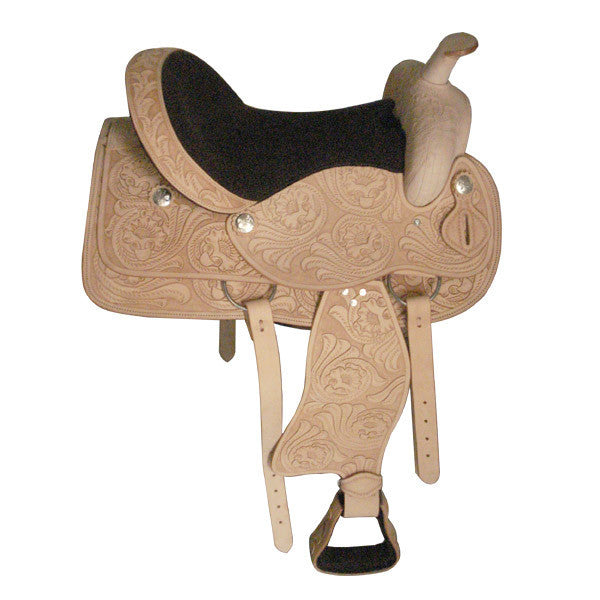 Light Tan Dressage Western Saddle with silver stud accents
