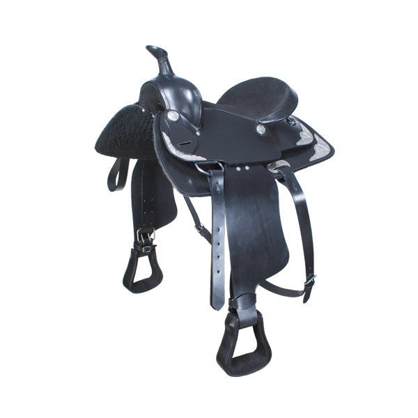 All purpose - Trail Saddle - Black Western Saddle with silver conchos and silver trimmings on skirt