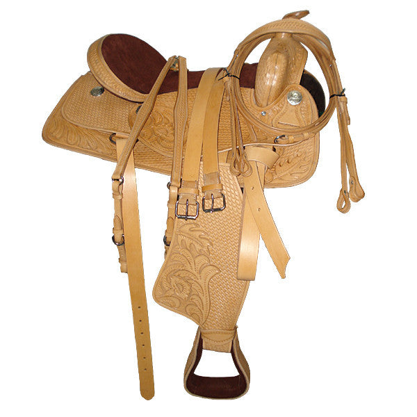 Pleasure Saddle - Intricate Tan Western Saddle with silver concho on fender