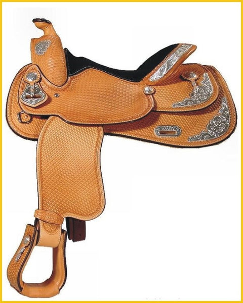 Show Saddle - Western Saddle with Concho on horn and silver trimming on skirt