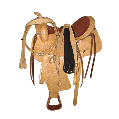 Trail Saddle - Light oil Western Saddle with silver conchos