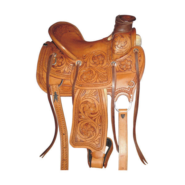 Brown Tree Type Western Saddle with Silver Conchos