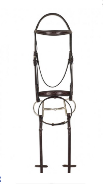 AAA Brown Double Stitched English Dressage Bridle