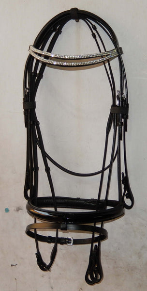 AAA Black Dressage English Bridle with Crystals on the browband