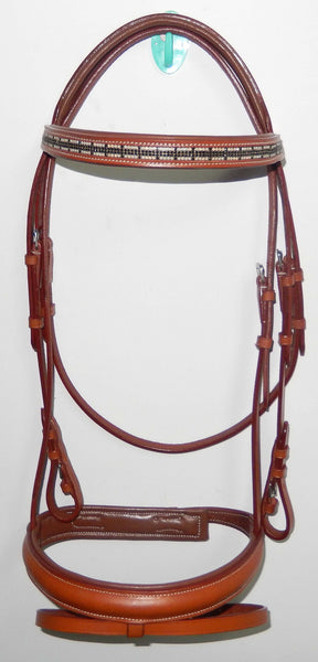 Brown and Black Dressage English Bridle