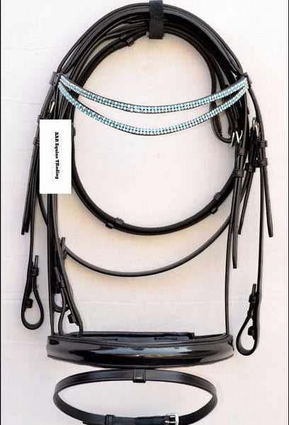 AAA Black Dressage English Bridle with Blue crystals