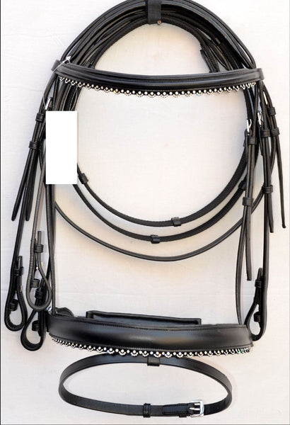AAA black bling dressage English Bridle with Silver Crystal Trimmings