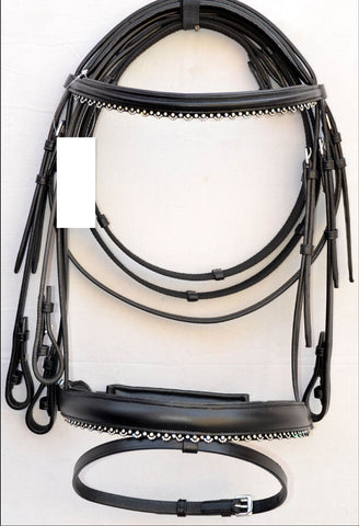 AAAA Dressage English Bridle with Silver Crystal Trimmings
