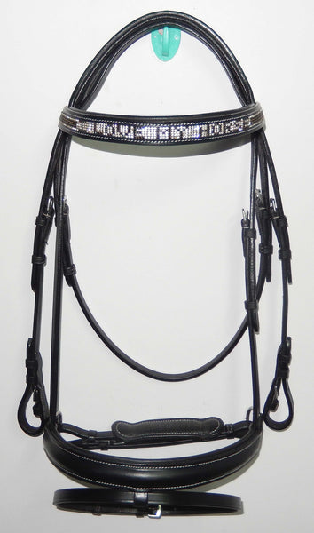 AAA Black Dressage English leather bridle with rhinestones