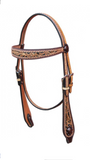 Black and Brown Western Headstall with Concho on the bits