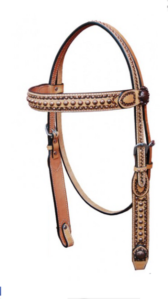 Tan Colored Western Headstall with copper beads and concho on the side