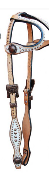 Double Ear Hairon Western Headstall with copper beads