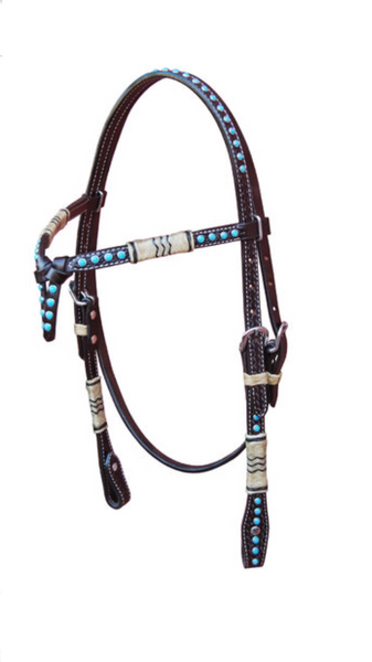 Double Knotted Western Headstall with turquoise beads