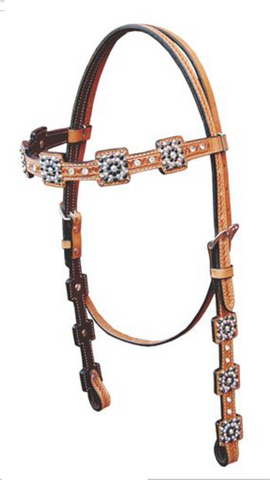 Metallic Brown Western Headstall with conchos