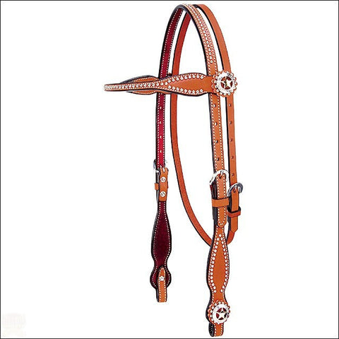 Brown Western Headstall with silver beads and concho on the browband