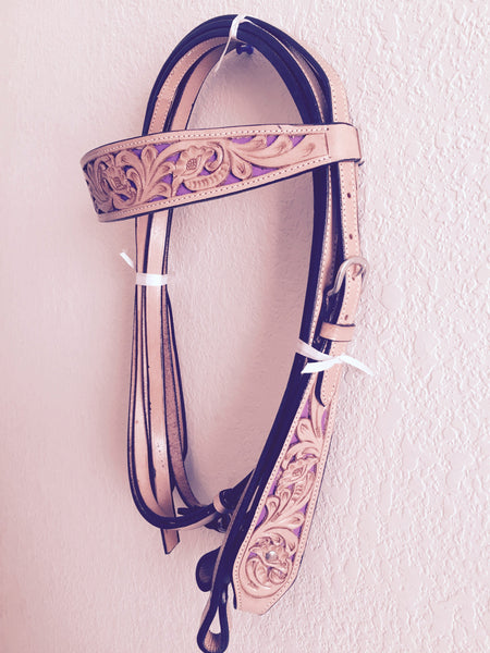 Classic Brown Double Stitched Western Headstall with clips