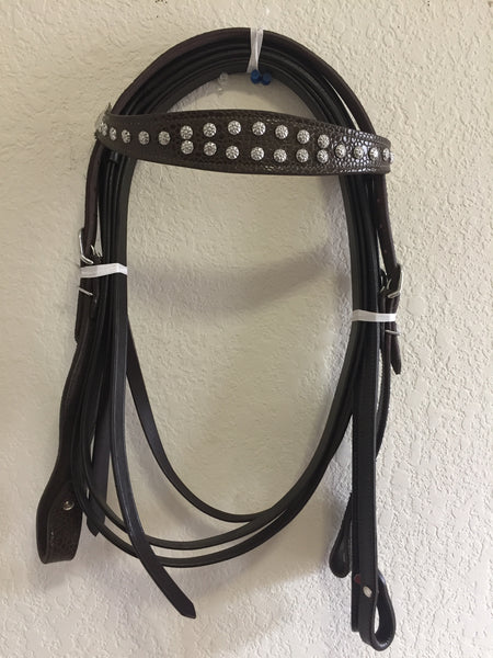 Dark Brown Western Headstall with Metallic Conchos and Copper beads