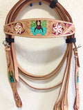 AAA Tan Western Headstall with Butterfly & Flowers